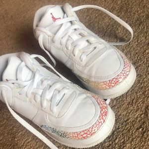 White and rainbow Jordan sneakers